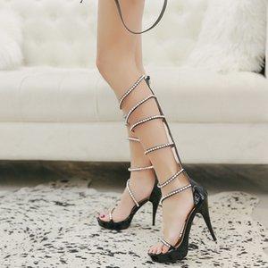 Goddess2019 Zapatos de mujer con plataforma impermeable Rhinestone Fasciola High Canister Sandalias Roma