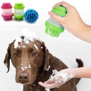 Silicone pet escova de banho para cães gatos profundas escovas de massagem limpeza chuveiro pente de cabelo pet purificador xampu dispenser animais de estimação aliciamento ferramentas