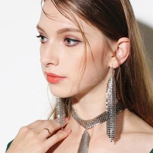 Las lentejuelas de metal borlas pendientes Brillante largo colorido pendiente de gota colgante para las mujeres Geometría Mujer cuelga la joyería regalo de Navidad barato