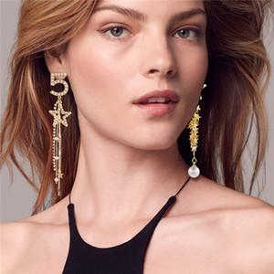 Moda Fiori Numero 5 Orecchini Colore oro Perla Orecchini pendenti Nuovi gioielli Joker Abbigliamento donna Accessori Brincos