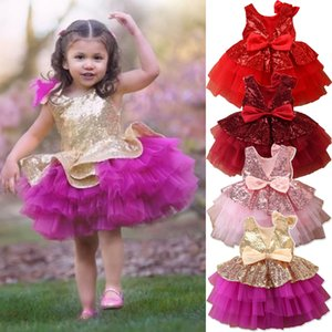 2020 Baby Summer Clothing 1-6Y Toddler Kids Baby Girl Clothes Pageant Princess Dress Lace Tutu Sequins Dress Layered Gown