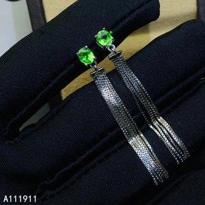 KJJEAXCMY ince takı 925 gümüş moda küpe popüler algılama desteği Doğal Tsavorite bayanlar kakmalı