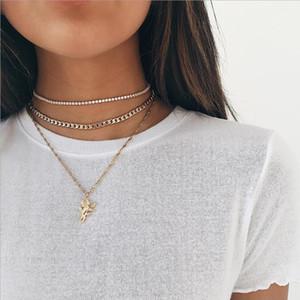 capa de la moda collar de cadena multi Copa cadena Mochain Gargantilla flor de Rose de color oro colgante material aleación