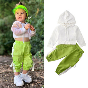 1-6T Bebek Çocuk Kız Bebek yazlık kıyafetler Bebek Giyim Setleri Net Kapşonlu Tişört Pantolon Casual Setleri Kız eşofman Donatın Tops