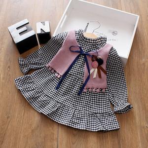 2шт 0-24 м мода весна дети жилет + платье Baby Girl одежда наборы плед рябить с длинным рукавом платье+3D цветок вязать жилет наряды