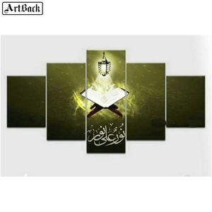 이슬람 성서, 5pcs, 이슬람교도, diy diamond painting, full, square, handmade, mosaic, 3d, 다이아몬드 자수 세트