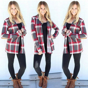 Fashion Women Overcoat Plaid Cardigan Warm Fall Ladies Long Sleeve Round Neck Knitted Outwear Jacket Open Stitch Polyester Tops