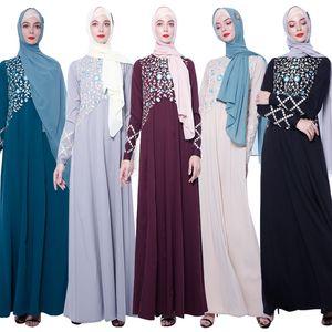 de gama alta de la longitud del piso musulmán bordado Dubai vestido de noche de las mujeres de la rebeca larga túnica kimono Ramadán árabe islámica turca Ropa Oración