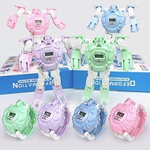 5 Styles enfants Cartoon Montre électronique PVC Refroidir Robot Deformation Montres Jeux d'enfants Jouets L539 éducation cadeau