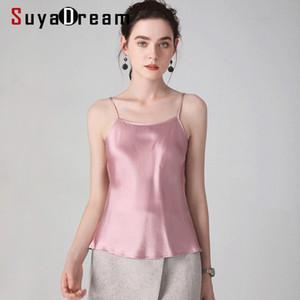 SuyaDream Женщина 100% Real Silk Camisoles Solid Smooth Silk Satin CAMIS 2020 весна лето пассив Жилетов