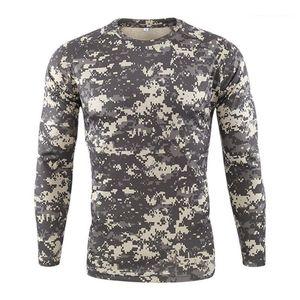 Мужские Tees Casual с длинным рукавом Камуфляж печати Мужчины Одежда Mens Designer Спорт Tshirts Мода тонкий пуловер шеи экипажа