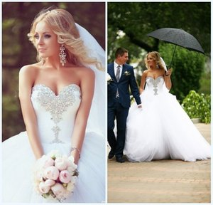 Princess Sweetheart Crystal Wedding Dresses Beaded Bridal Ball Gown Tulle Skirt With Lace Up Back Sweetheart Wedding Dress Custom Made