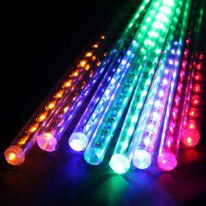 30 cm / 50 cm Decoração de Natal 144 LED Meteoro Chuveiro Falling Star / Chuva Gota / Icicle Neve LED Xmas Árvore Corda Luz Ao Ar Livre luz