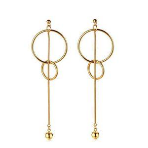Boucles d'oreilles pendantes de goutte de gland d'acier inoxydable de perles brillantes de femmes de 120MM longues plaquées par or 18K