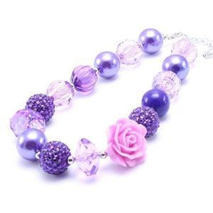 Kid Chunky colar de moda Crianças Meninas Bubblegum Colar Chunky Bead bebê Purple Rose Flower presente Bijutaria para crianças