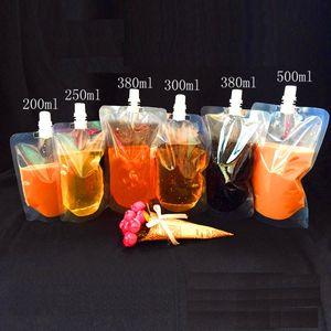 100ml 200 ml 250 ml 300 ml 500 ml Stand-up Plástico Bolsa de empaquetado de bebidas Bolsa de salida para bebidas Líquido Jugo Leche Café DLH169