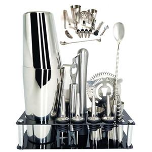 14 PC / 600 ml 750 ml Acero inoxidable Cocktail Shaker Mixer camarero de la bebida del kit navegador Bares Conjunto de herramientas con vino del estante del soporte