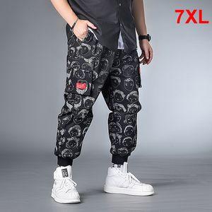 Hip Hop Streetwear Karakter Baskı Pant Erkekler Oversize Kargo Pantolon Sweatpants Erkek Jogger Pantolon Artı Szie 6XL 7XL HX414