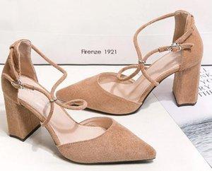 Fitas Bombas Das Mulheres Mulheres vestido sapatos de salto alto Micro suded apontou dedos senhoras sapatos de salto robusto zy905