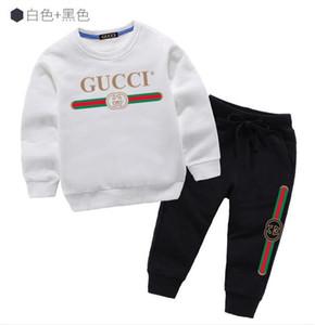 2pcs insiemi cotone dei vestiti 2020 Classic Designer della ragazza del ragazzo a maniche lunghe con cappuccio Pantaloni vestito di sport per bambini Kids Fashion