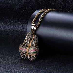 Циркон тапочка ожерелье Креативного Hip Hop Bling женщина ювелирных изделия девушка Обувь Подвеска Сеть ювелирные изделия Фестиваль подарки TTA989-6