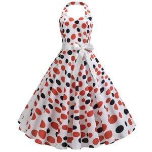 Polka Dot печати Женщины ретро платье Холтер рукавов Лето Урожай платье 3 цвета партии Vestidos Robe 60s Женский