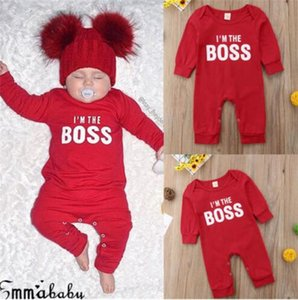 Fashion Cute Newborn Baby Child I'm the BOSS Romper Outfits Christmas Clothing Gifts for Boys Girls Clothes Drop Ship