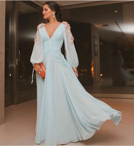 Elegant Long Sleeve Chiffon Evening Dress 3D Flowers Sexy Deep V Neck Open Back Plus Size A Line Pleated Prom Dresses