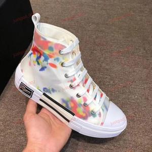 Dior Sneakers 19SS  Art und Weihnische Canvas B2 High Top Sneakerse Turnschuhe Blumen Tecs in Oblique Mens Marke Designer-Schuhe für Männer und Frauen Schuh