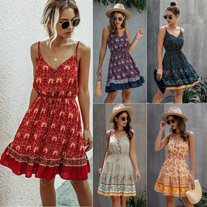 2020 Cool Summer Autumn Fashion Europe amerikanische Frauen-reizvolle Blumen-Reißverschluss weg von der Schulter Backless Rock-Spielanzug, kurzer Overall weibliche einteiliges Kleid