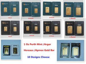 1 Oz Perth Mint Argor Hereaus RCM Apmex Золотой слиток покрыло 24k позолоченный Gold Bullion День рождения Праздничные подарки украшения дома ремесел