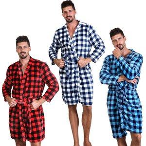 7 Cores Unisex soltos Buffalo Plaid banho macios flanela vestido xadrez manga comprida Camisola Aqueça 10pcs Robes Winter Home Roupa CCA11650