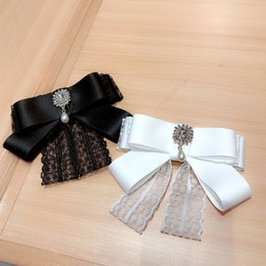 2020 Women Vintage Layered Satin Lace Bow Brooch Pin Rhinestone Drop Collar Necktie