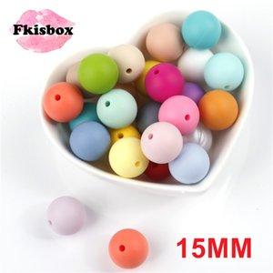 Fkisbox 100pc 15mm Yuvarlak Silikon diş kaşıyıcınız Boncuk Bpa Ücretsiz Bebek Teething kolye Aksesuarları Bebek emzikleri Zincir Silikon Boncuk LY191202