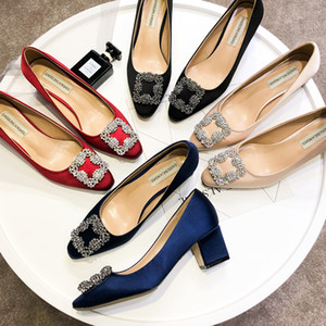 Beiläufige Dame der Entwerfer-reizvolle Art und Weisefrauen pumpt Satin 4color quadratische Schnalle strass crysta mittlere verfolgte Schuhpumpen nagelneu