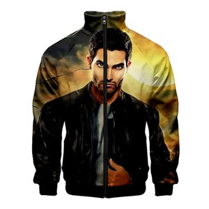 Derekhale 3D Print stand Collare Pocket Giacche Zipper Double Sided stampa a maniche lunghe cappotto casuale Mens