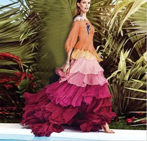 191.2 2019 Milan Pist Elbise Marka Aynı Stil Uzun Kollu Katmanlı etek Elbise cupcake elbise Moda Lüks Flora Baskı Z