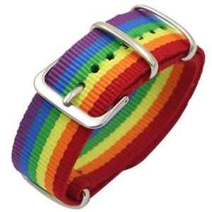 LURUIXU arco-íris tecido pulseiras casal para as Mulheres Homens Moda colorido Stripe Amizade pulseiras jóias dom