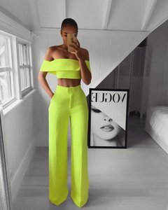 Wholesale-2 Piece Set Women Solid Off the Shoulder Crop Top and Pants Fashion Sexy Female Pants Set Summer Women Matching