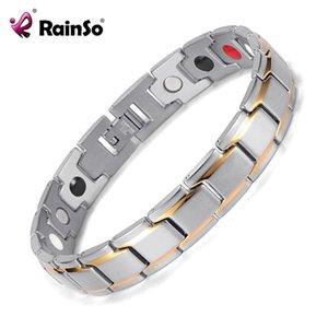 Rainso Dropshipping Acero Inoxidable Bio Energy Bracelet Moda Salud Brazalete Joyería Magnética Pulseras Holograma Pulsera Y19051403