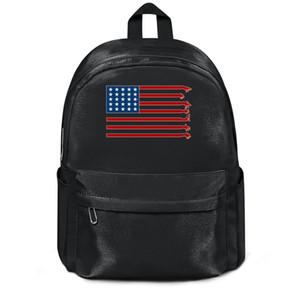 레드 데드 리 구속 Amerika 플래그 패션 자루 재사용 울 어깨 가방 디자인 미친 문자 야외 모직 배낭 말 볼