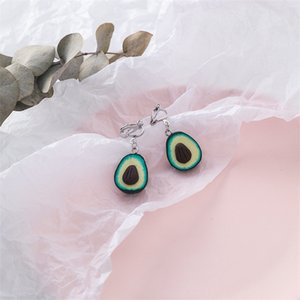 Creative Fun Fruit Avocado Resin Acrylic Long Pendant Earrings Simple Trendy Wild Sweet Young Girl Earrings Jewelry Accessories
