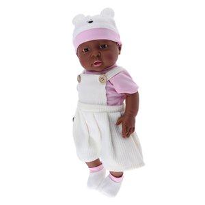 Çocuklar Doğum Noel Hediyesi - Lifelike Tam Vinilin 16inch Reborn Afrikalı Amerikan Baby Doll - Siyah Cilt Tonu