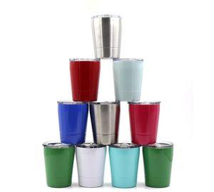 Vino sin pie de café Vasos para niños de 8 onzas taza de vino de vidrio hueveras 8 colores con Recipientes tapa de acero inoxidable paja taza de vino