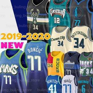 Bucks Giannis 34 Antetokounmpo Jersey Luka Milwaukee 77 Doncic Dirk Nowitzki 41 Kristaps 6 Porzingis Ray Allen 34 Basketball Maglie
