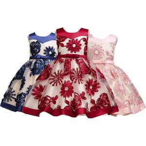 Kızlar Balo Elbise 6 Tasarım Bow Tie Dantel Düzensiz Prenses Elbise Çiçek Nakış Elbise Çocuk Kız Parti Peform 2-12T 04
