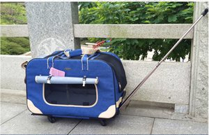 Pet trolley folding four-wheeled dog trolley box cat suitcase bag breathable closed Lever Panoramic Skylight Super Breathable