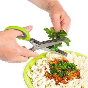 Eco-Friendly Multipurpose Ciseaux herbes en acier inoxydable avec 5 lames de cuisine Ciseaux de hachoir à légumes avec brosse de nettoyage