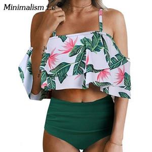 Minimalismo Le Sexy Cintura Alta Swimsuit Imprimir Swimwear 2019 Halter Set Biquíni Ruffle Ombro Maiô Mulheres Sólidos Biquíni Xxl Y19051801