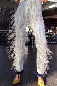 2019 ilkbahar Sonbahar Moda El Yapımı Boncuk elmas Püskül Jeans Kadınlar düz ayak bileği lengthDenim Pantolon